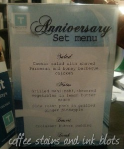anniversary set menu